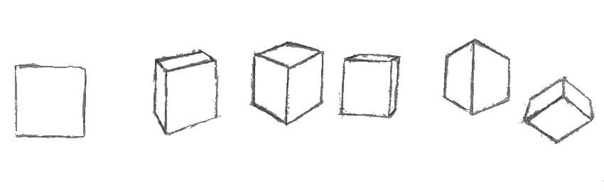 Drawing boxes in different angles with no ruler
