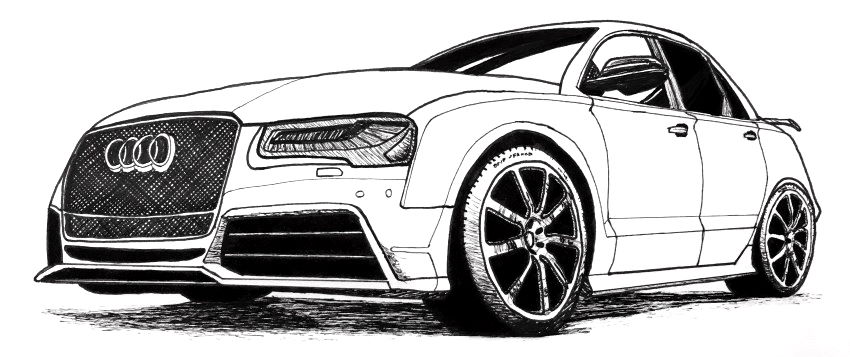Audi car pen drawing with Copic Multiliner