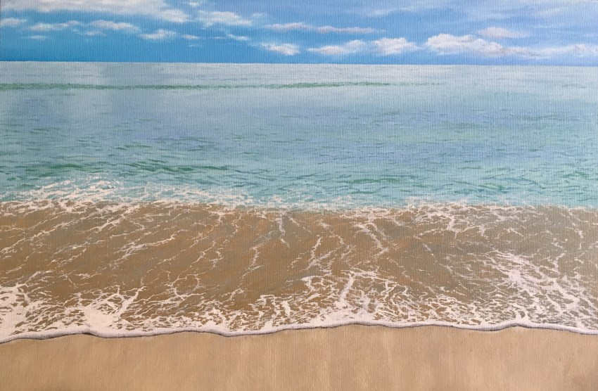 Realistic seashore oil painting