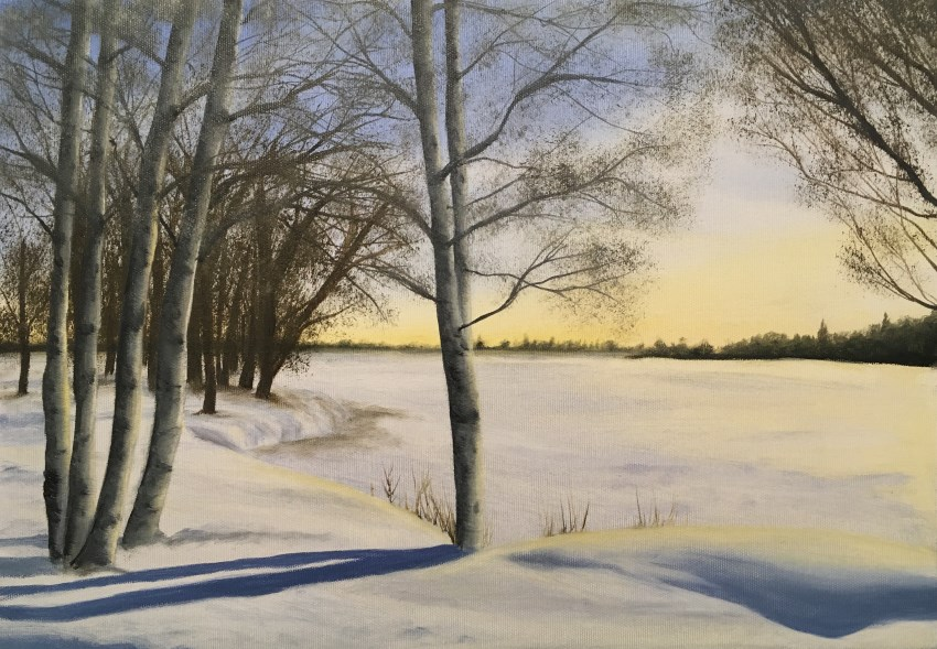 Oil painting of birch trees in the snow