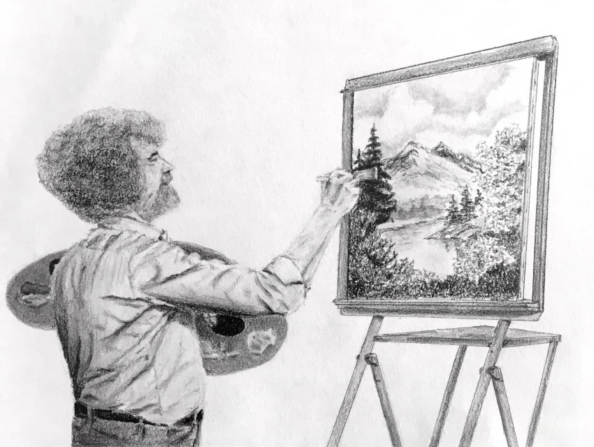 A pencil sketch of Bob Ross