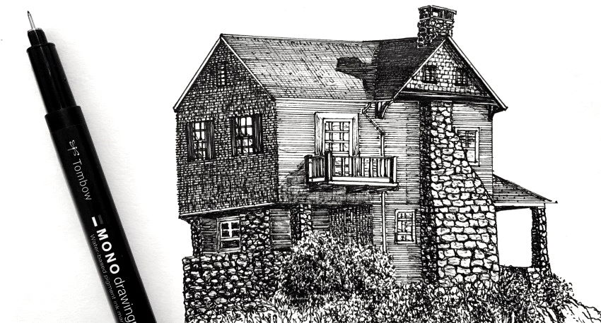 Pen and ink drawing of a country house