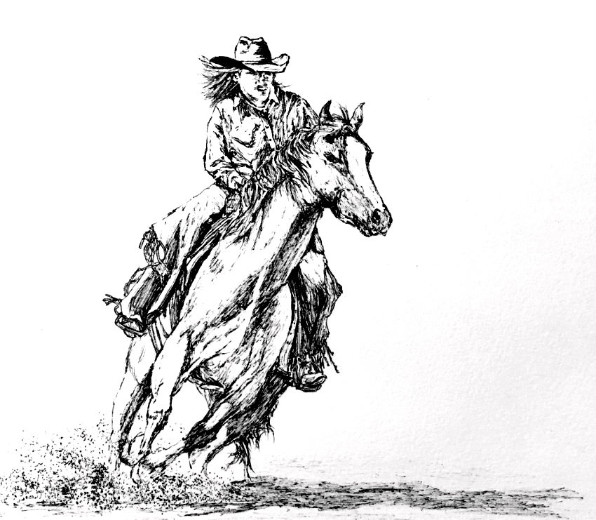 Cowgirl riding on horse pen sketching