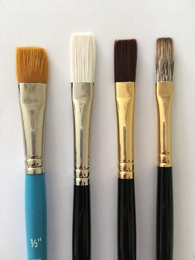 Flat synthetic brush for oil painting