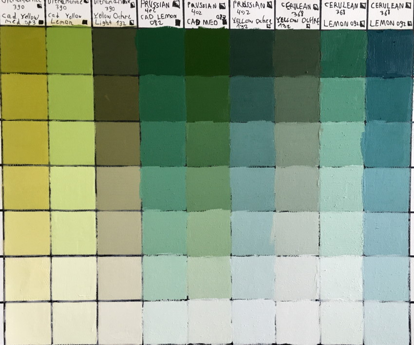 Color chart palette for green colors