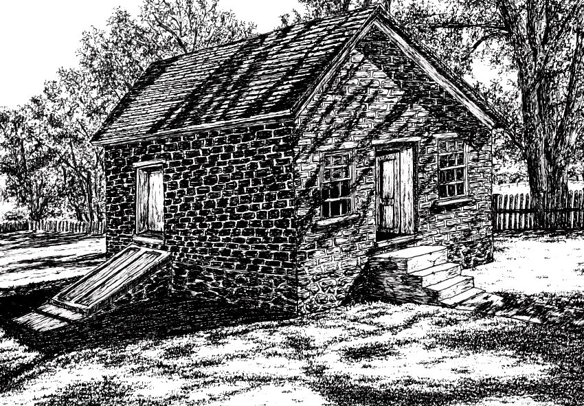 Pen drawing of a house with Pigma Micron
