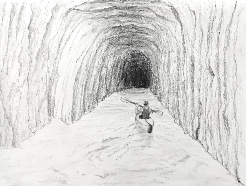 Pencil drawing of a kayak paddler in cave