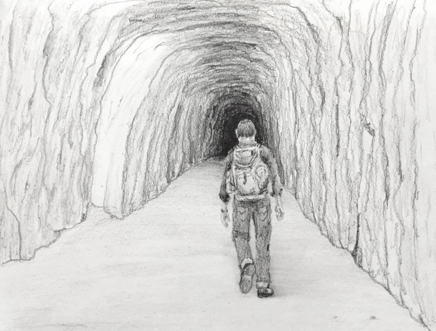 Man walking in cave pencil drawing