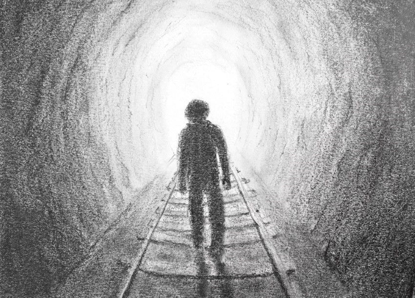 Pencil drawing of a man in tunnel
