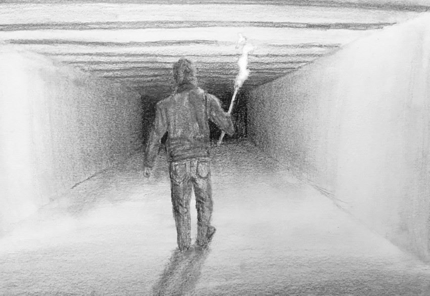 Man with torch in tunnel pencil drawing
