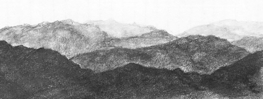 Mountains brightness values with pencil