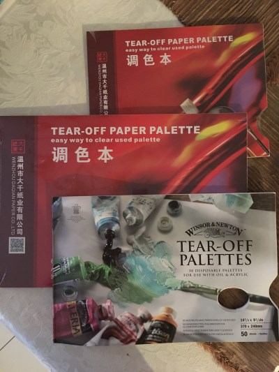 Paper palettes for mixing oil paints