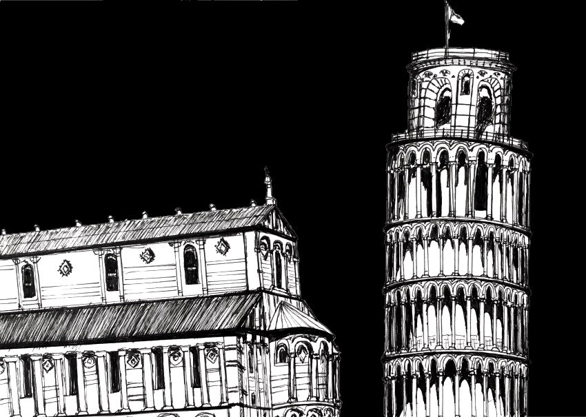 Pen drawing tower of pisa with Pitt