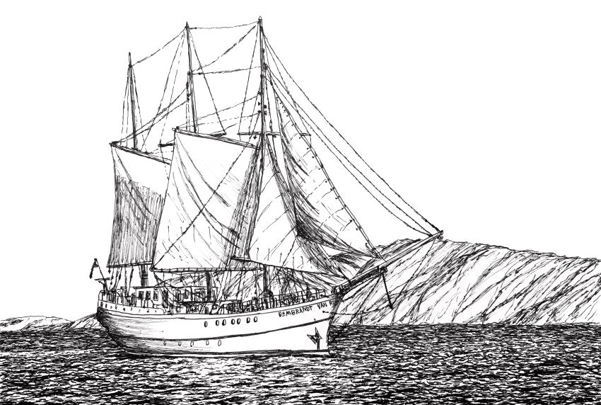 Pen & ink drawing of a sailboat