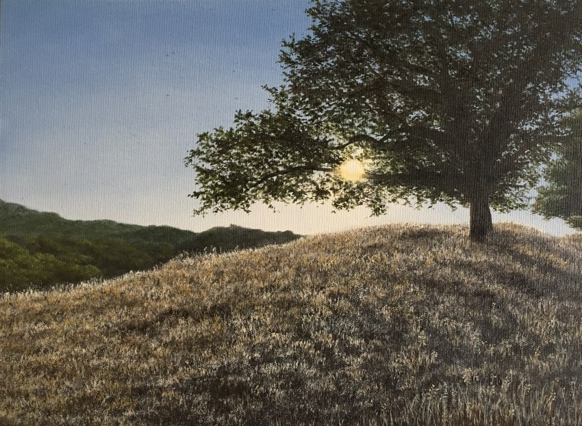 Tree and sunset oil painting