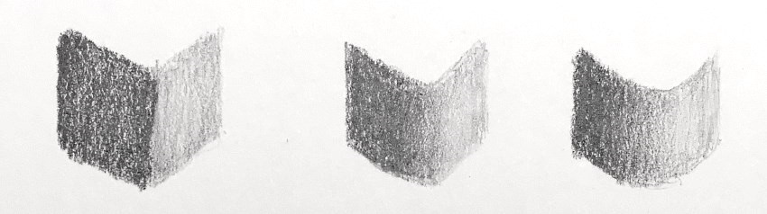 Pencil drawing of transitions in brightness values