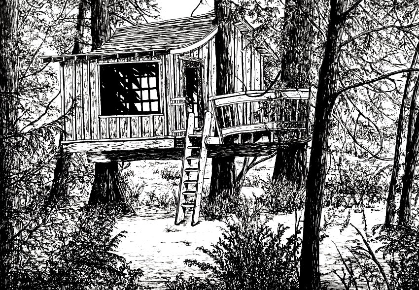 Tree house pen drawing