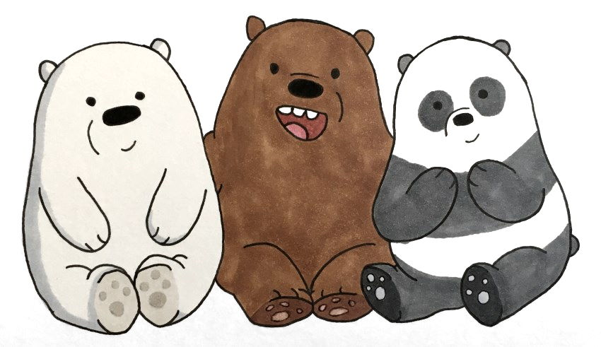 We bare bears coloring with copic markers