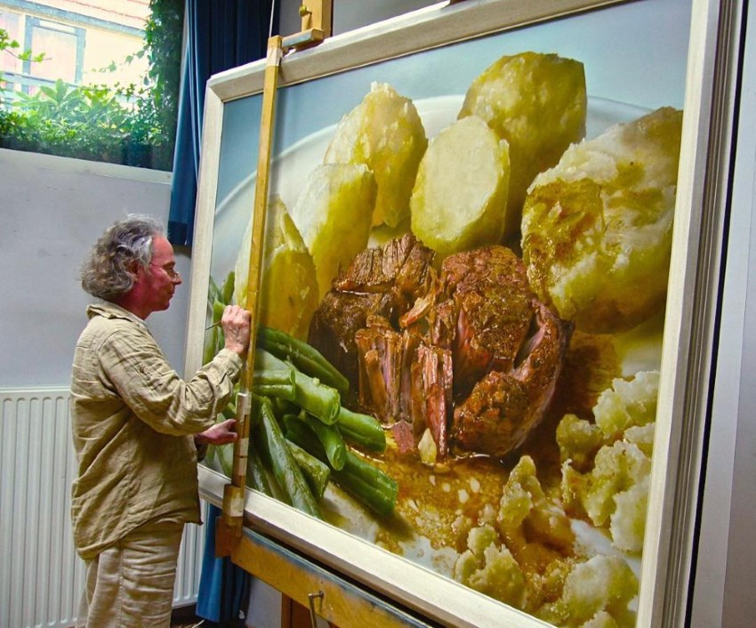 Meat hyperrealistic oil painting by Tjalf Sparnaay