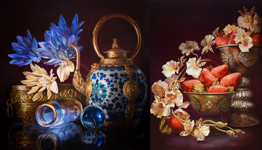 Oil paintings of flowers and fruit by Gatya Kelly