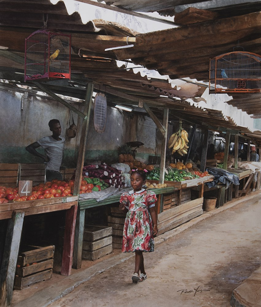 Marketplace watercolor painting by Rance Jones