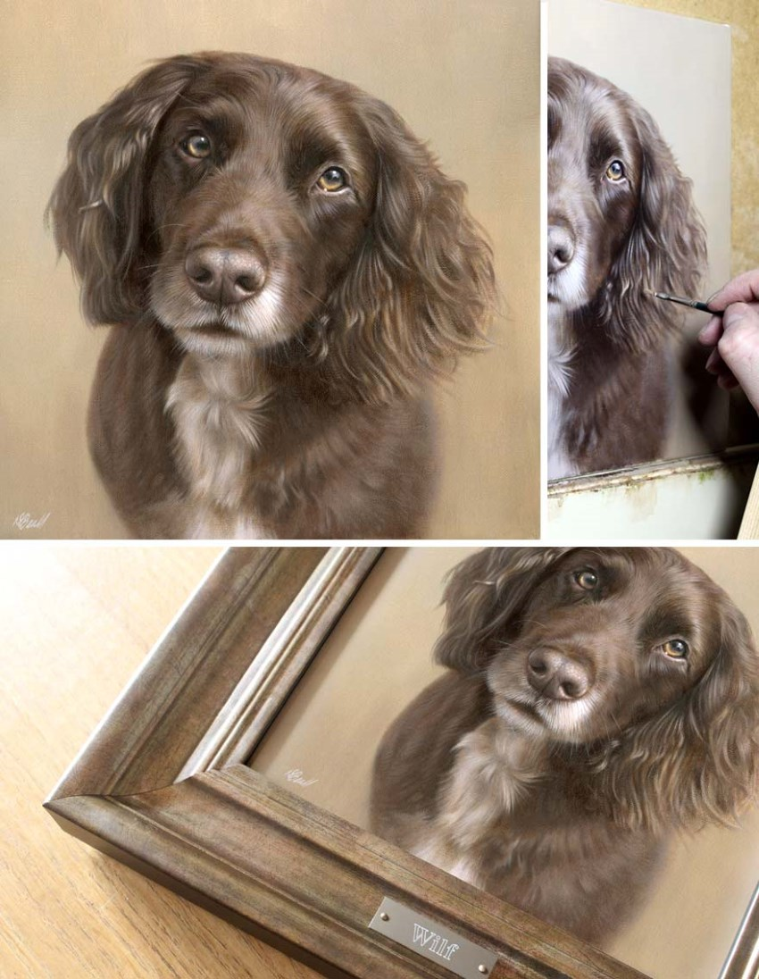 Framed dog portrait by Nicholas Beall