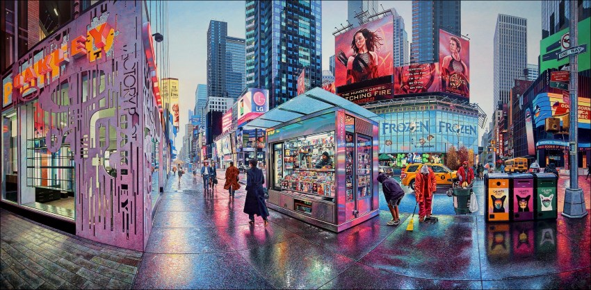 Realistic painting of a street by Nathan Walsh
