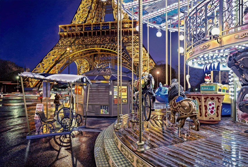 Eiffel tower & carousel painting by Nathan Walsh