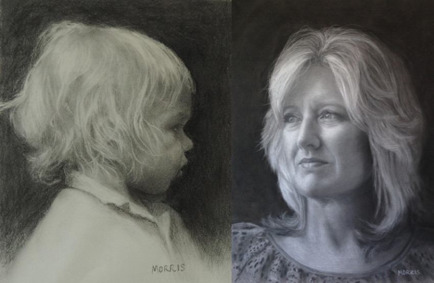 Two pencil drawing portraits by Kathy Morris