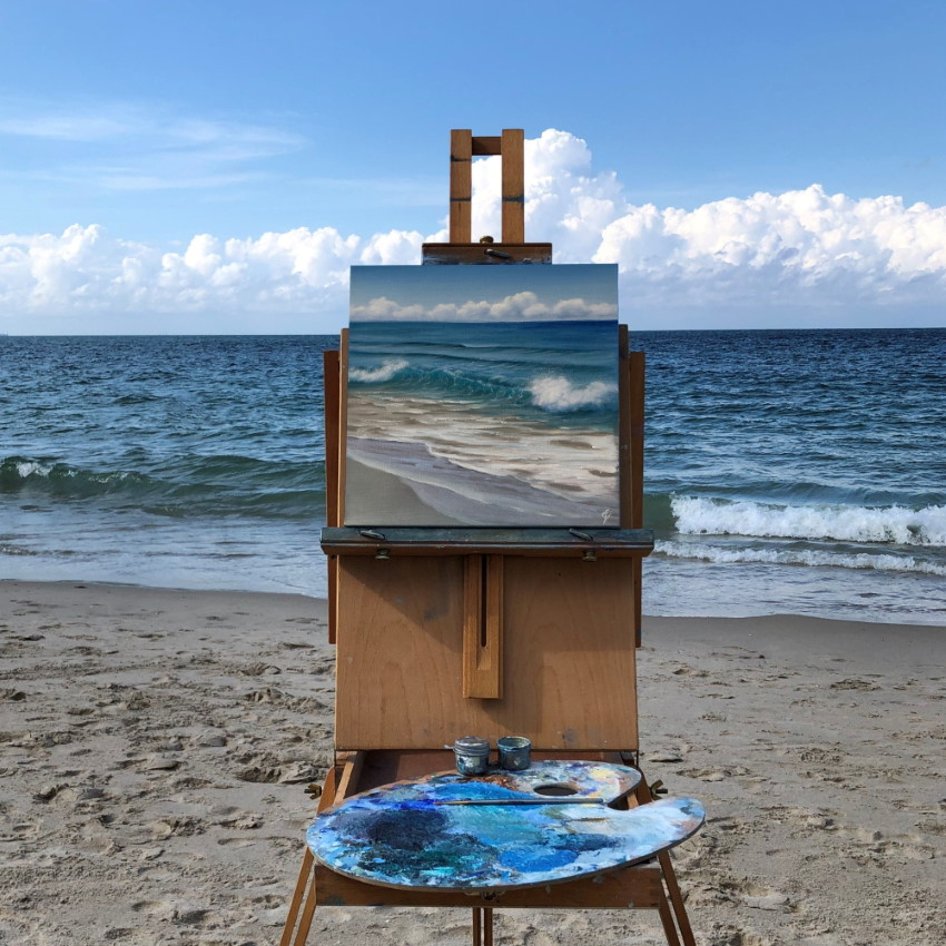 Plein air painting of a seascape by Eva Volf