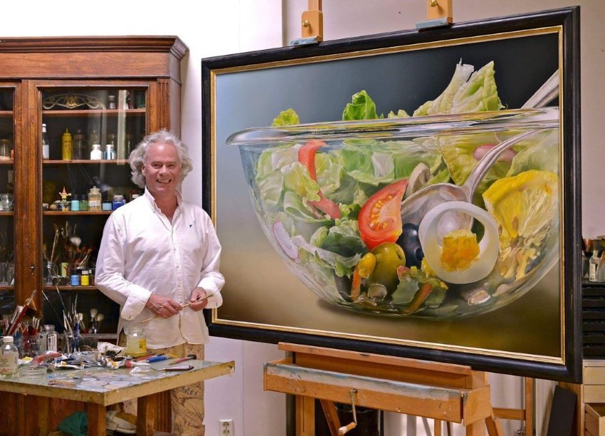 Tjalf Sparnaay and his salad hyperrealistic painting