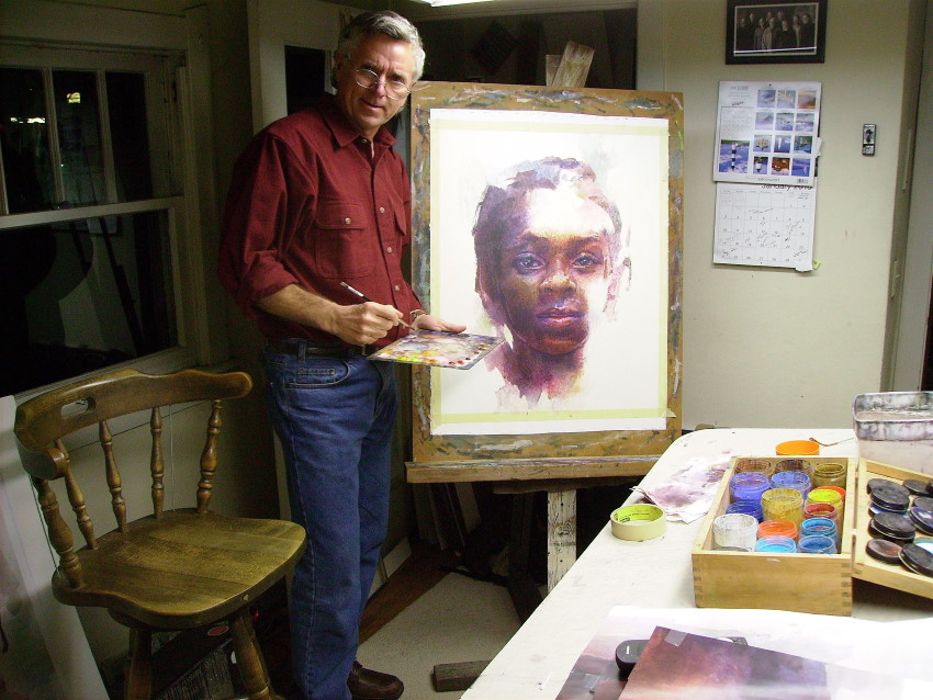 Stan Miller while painting a portrait
