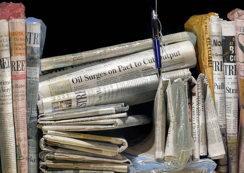 Photorealistic newspapers painting by Steve Mills
