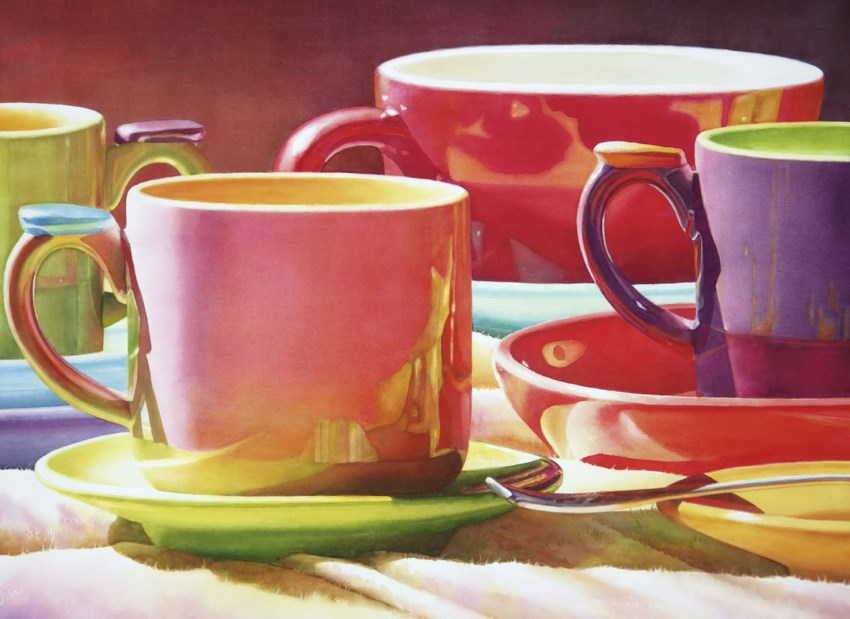 Watercolor cups of tea by artist Lana Privitera