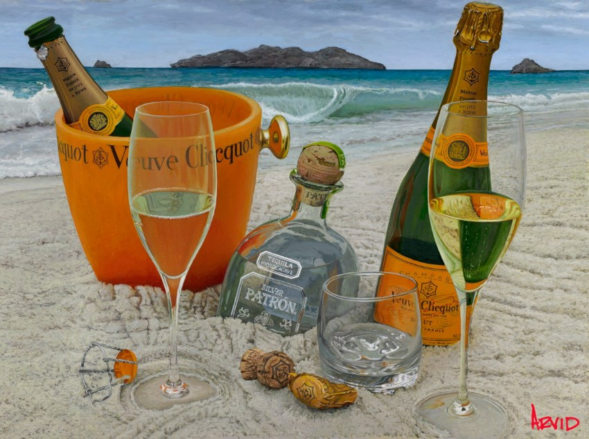 Champagne bottles on beach Oil painting by Thomas Arvid