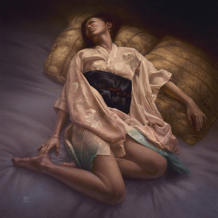 Woman on bed oil painting by Christophe Vacher