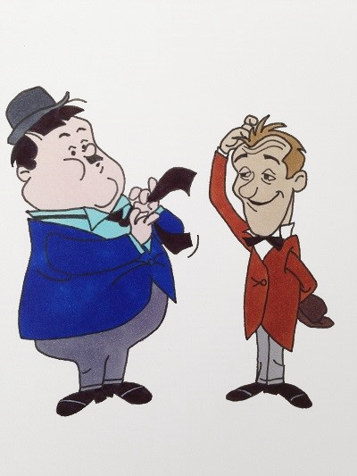 Comics drawing and painting of Laurel & Hardy