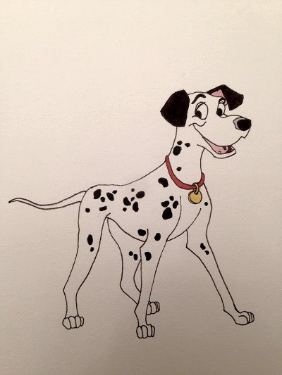 Comics drawing of Pongo from 101 Dalmatians, Disney