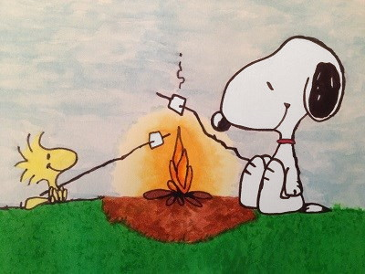 Comics drawing and painting of Snoopy & Woodstock