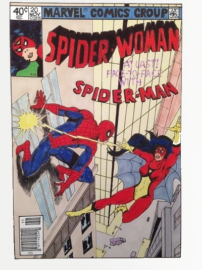 Comic book characters, Spiderman and Spiderwoman