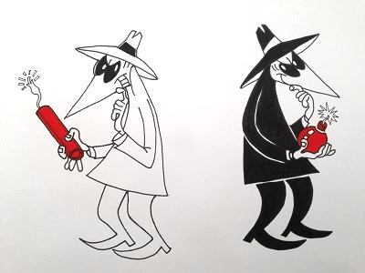 Comics drawing and painting of Spy vs Spy