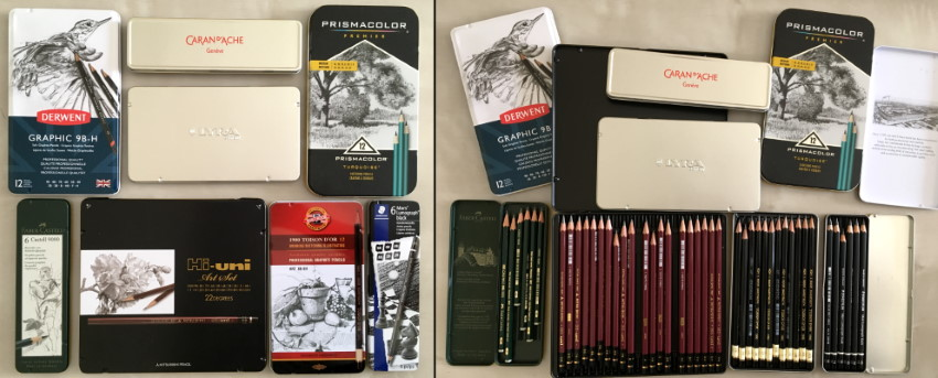 Drawing pencils sets with cases