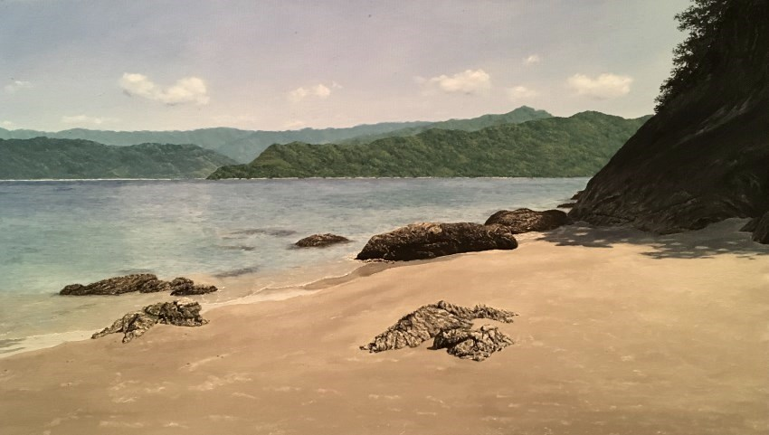 Seashore and mountain oil painting