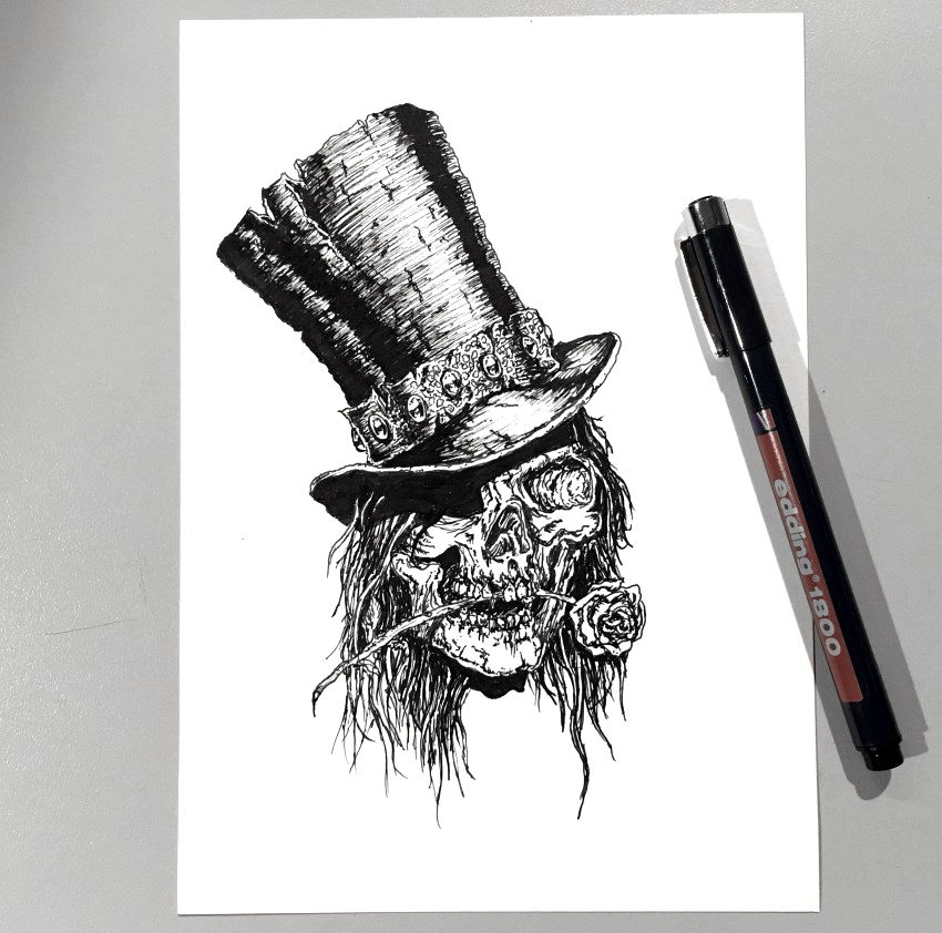 Pen drawing of a skull with hat