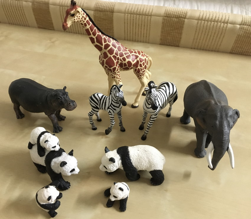 Plastic toy figurines of animals