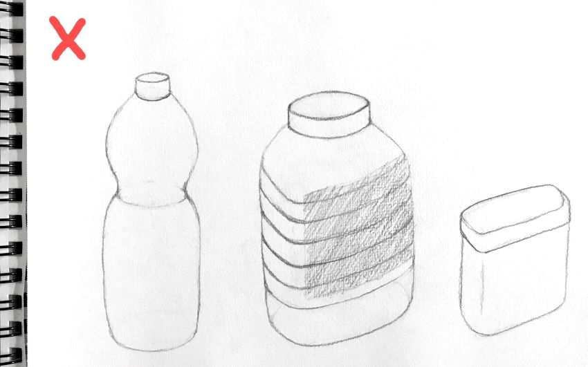 Objects in a row, pencil sketch