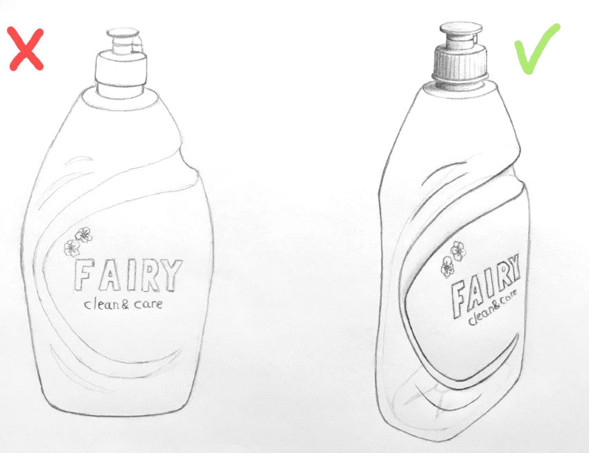 Composition pencil drawing for dish soap bottle