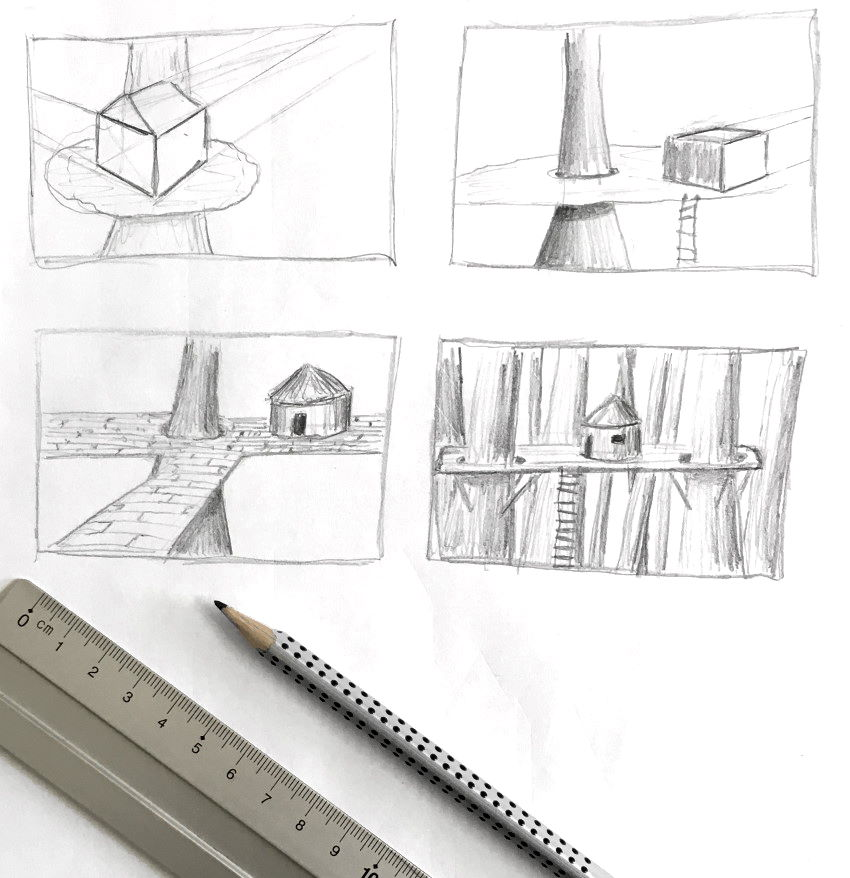 Thumbnails sketches for drawing from imagination