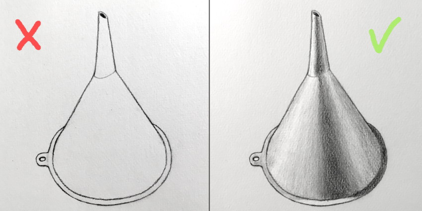 Pencil drawing funnel with highlights and shadows
