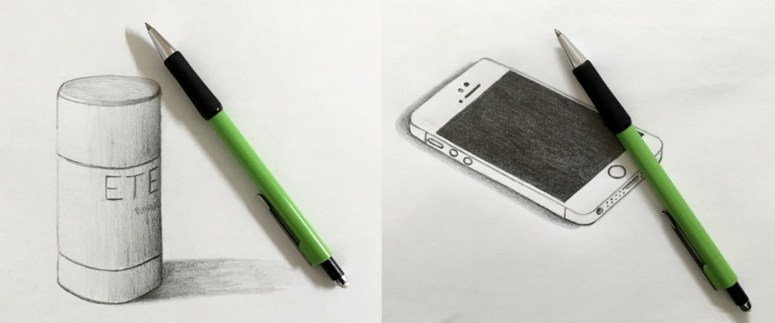 Mechanical pencil sketches of iPhone SE & stick deodorant